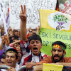 Supporters of Demirtas, co-chairman of the pro-Kurdish People's Democracy Party, attend an election rally for Turkey's June 7 parliamentary elections in Istanbul