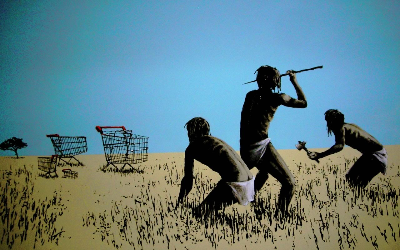 banksy_artwork_cart_funny_hunter_satire_shopping_carts_desktop_1280x800_hd-wallpaper-1322622