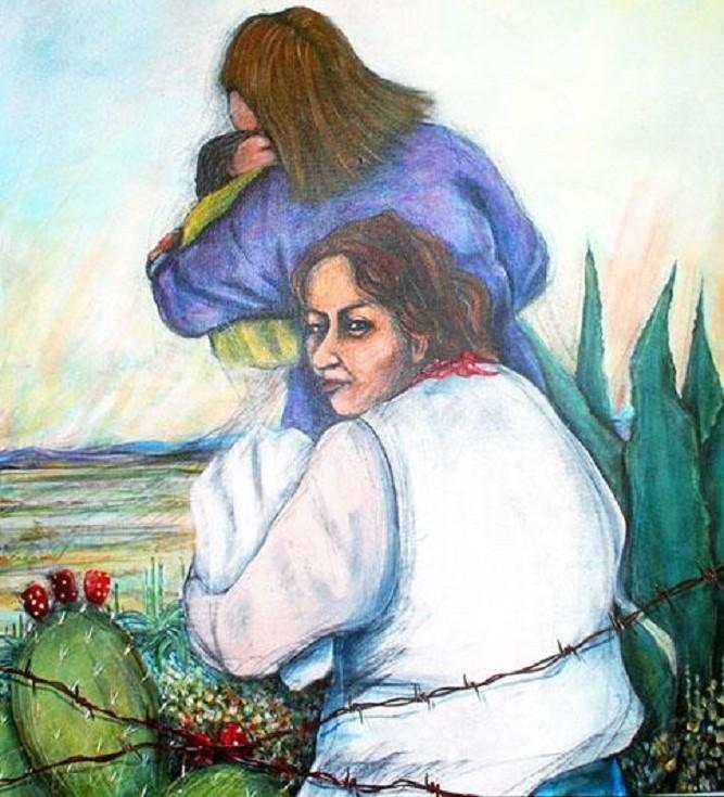 """""""Donne che attraversano"""", dipinto da Malaquias Montoya nel 2014"""